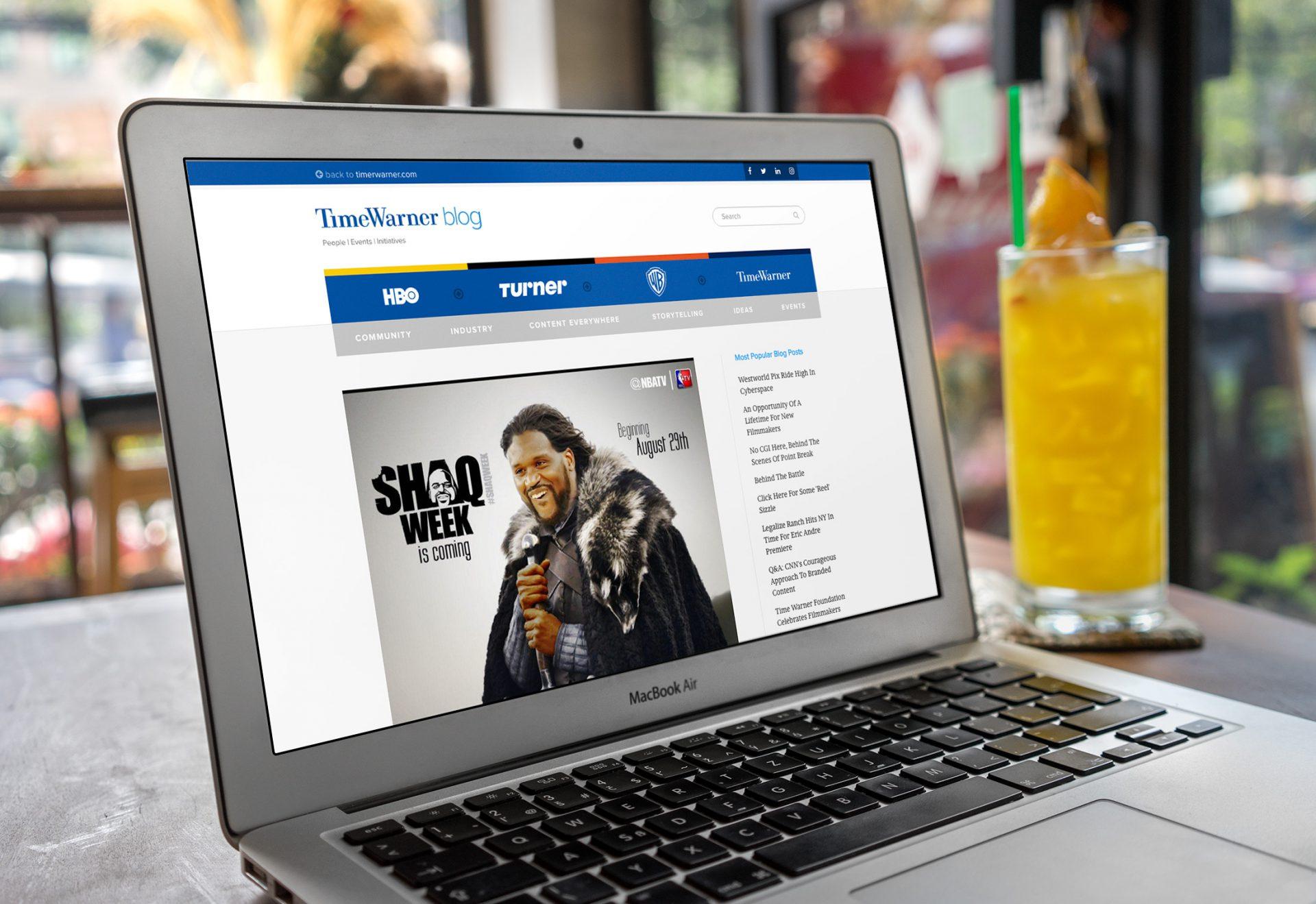 Time Warner Blog - Web Design - Laptop Shaq - Jake Cooper Design