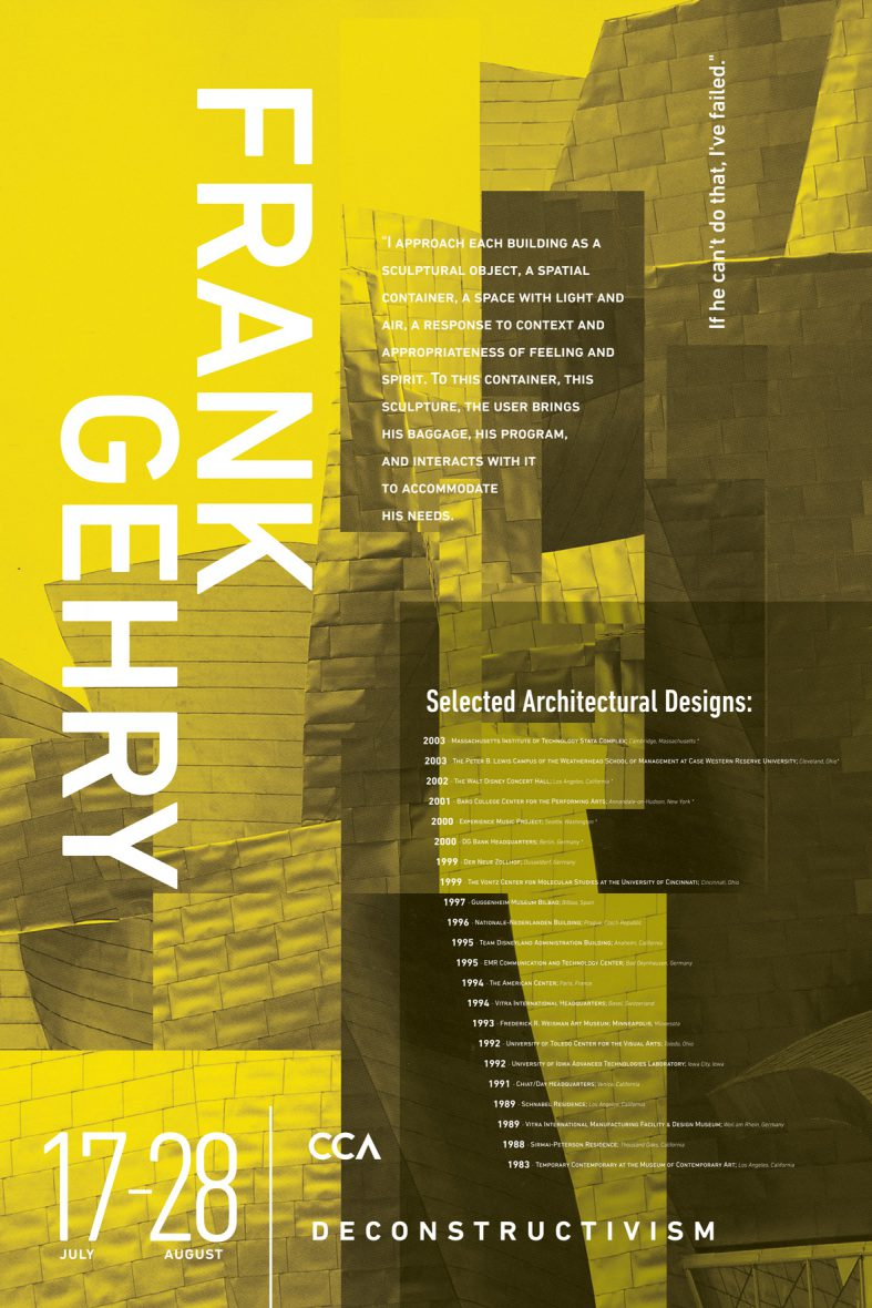 CCA Posters | Frank Gehry Poster | Jake Cooper Design