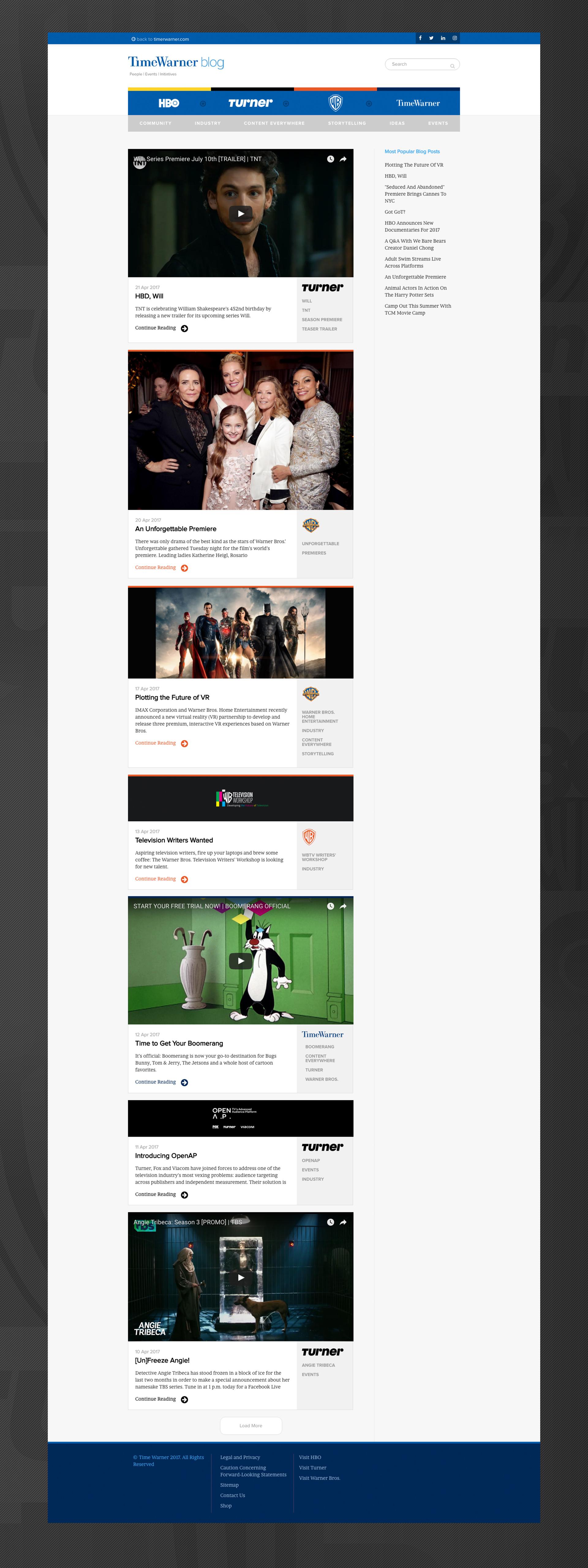 Time Warner Blog - Web Design - Home Page - Jake Cooper Design